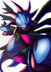 absurdres commentary_request fangs glowing glowing_eyes highres hydreigon light_trail looking_at_viewer multiple_heads no_humans open_mouth pokemon pokemon_(creature) ririri_(user_rkrv7838) simple_background solo tongue violet_eyes white_background