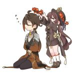 >_< 1boy 1girl arms_up bangs black_footwear black_gloves black_pants black_shorts brown_hair chinese_clothes coat commentary crossed_arms earrings english_commentary eyebrows_visible_through_hair flower full_body genshin_impact gloves hair_between_eyes hat hat_flower hat_ornament head_wreath highres holding hu_tao_(genshin_impact) jewelry kneehighs long_hair long_sleeves low_ponytail masollyn necktie pants shorts sidelocks simple_background sitting sleeping standing tiptoes trembling twintails wariza white_background white_legwear zhongli_(genshin_impact) zzz