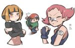 1boy 2girls bandaid bandaid_on_arm bandaid_on_nose black_eyes black_shirt blush breasts capelet closed_mouth commentary_request crossed_arms fingerless_gloves frown gardenia_(pokemon) gloves green_capelet grey_pants hand_up hat highres lucas_(pokemon) maylene_(pokemon) midriff multiple_girls navel pants pink_eyes pink_hair pokemon pokemon_(game) pokemon_dppt shirt shoes short_hair smile solid_oval_eyes tirarizun white_background
