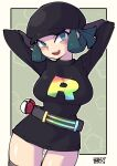 1girl arms_behind_head arms_up belt black_dress black_headwear blush border breasts chichibu_(watson) commentary_request dress eyelashes gloves green_eyes green_hair grey_gloves grey_legwear hat large_breasts looking_at_viewer open_mouth outline outside_border poke_ball poke_ball_(basic) pokemon pokemon_(game) pokemon_usum shiny shiny_skin short_dress short_hair signature solo team_rainbow_rocket team_rainbow_rocket_grunt thigh-highs tongue upper_teeth