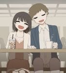 1boy 1girl :d absurdres avogado6 bench blue_jacket blush bob_cut brown_hair closed_eyes collared_shirt commentary_request couple cup dress facing_viewer head_tilt heads_together highres holding holding_cup holding_hands indoors interlocked_fingers jacket long_sleeves on_bench open_clothes open_jacket open_mouth original pants pink_dress shirt short_hair sitting smile table white_jacket white_pants white_shirt wing_collar