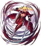 1girl blonde_hair bodysuit breast_cutout breasts commentary_request dark_skin eyebrows_visible_through_hair fangs full_body hair_between_eyes highres holding holding_sword holding_weapon large_breasts leg_armor long_sleeves official_art open_mouth pointy_ears red_eyes shinganji_kurenai simple_background solo sword taimanin_rpgx teeth tongue twintails weapon white_background zol