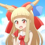 1girl bangs bare_arms bare_shoulders blonde_hair blue_ribbon blue_sky blunt_bangs bow cato_(monocatienus) clouds commentary_request eyebrows_visible_through_hair hair_bow highres horn_ornament horn_ribbon horns ibuki_suika large_bow long_hair long_sleeves looking_at_viewer open_mouth red_bow red_eyes ribbon shirt sky solo touhou upper_body upper_teeth watermelon_slice white_shirt