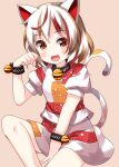 1girl :d animal_ears bangs bell between_legs brown_background brown_hair calico cat_ears cat_tail clenched_hand eyebrows_visible_through_hair fang goutokuji_mike hand_between_legs highres looking_at_viewer multicolored multicolored_clothes multicolored_hair multicolored_shirt multicolored_skirt multicolored_tail neck_bell open_mouth orange_eyes orange_hair puffy_short_sleeves puffy_sleeves ruu_(tksymkw) short_hair short_sleeves simple_background skirt smile solo streaked_hair tail touhou white_hair