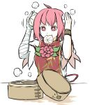 1girl ahoge arms_up bandaged_arm bandages baozi chinese_clothes cuffs double_bun flower food food_in_mouth hair_between_eyes highres ibaraki_kasen peroponesosu. pink_eyes pink_hair rose short_hair short_sleeves simple_background solo steam tabard touhou vine_print white_background white_sleeves