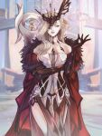 1girl bare_shoulders black_gloves black_mask blonde_hair breasts cape dress earrings elbow_gloves flower fur_collar fur_trim genshin_impact gloves hand_on_own_arm highres jewelry kyuu9 lace large_breasts long_hair looking_at_viewer mask mask_on_head multicolored multicolored_clothes multicolored_dress one_eye_covered parted_lips red_cape rose side_slit signora_(genshin_impact) solo standing white_eyes