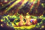 akihorisu black_eyes brown_eyes bush closed_mouth commentary_request day forest grass highres leafeon light_rays nature outdoors pokemon sitting smile transformed_ditto tree tree_stump