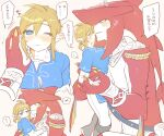 1boy 1girl bangs blue_eyes blue_shirt blush breasts colored_skin eyebrows_visible_through_hair genderswap genderswap_(mtf) green_footwear hetero highres holding holding_hands large_breasts link looking_at_another nail_polish one_eye_closed pants pointy_ears red_skin shirt short_ponytail sidon smile sparkle speech_bubble the_legend_of_zelda the_legend_of_zelda:_breath_of_the_wild translation_request ttanuu. white_pants yellow_nails