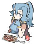 1girl bangs bare_arms blue_bodysuit blue_gloves blue_hair bodysuit cape carton clair_(pokemon) closed_mouth commentary_request drinking_straw eyelashes food fork gloves grey_eyes hair_between_eyes half-closed_eye hand_up knife long_hair plate pokemon pokemon_(game) pokemon_hgss ponytail solo table tirarizun white_background