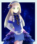 1girl bangs bare_shoulders blonde_hair blue_dress blue_hairband border braid closed_mouth commentary_request dress elbow_gloves eyelashes frills gloves gradient_dress green_eyes grey_border hairband highres lillie_(pokemon) long_hair looking_down official_alternate_costume own_hands_together pokemon pokemon_(game) pokemon_masters_ex signature smile solo tere_asahi turtleneck_dress twin_braids white_gloves