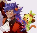 1boy alternate_hairstyle argyle bangs blush braid braided_ponytail bright_pupils buttons cape closed_mouth coat commentary_request dark-skinned_male dark_skin facial_hair flower fur-trimmed_coat fur_trim grookey hair_flower hair_ornament jabot leon_(pokemon) long_hair male_focus pokemon pokemon_(creature) pokemon_(game) pokemon_swsh purple_hair red_cape smile stj_pkmn tailcoat white_neckwear white_pupils yellow_eyes