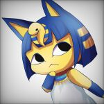 1girl :< animal_crossing animal_ears ankha_(animal_crossing) bangs bare_shoulders black_eyes blunt_bangs cat_ears cat_tail closed_mouth colored_skin detached_sleeves dress gradient gradient_background grey_background grey_dress highres kurage_(pikachu33) solo tail yellow_skin