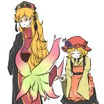 2girls :| aki_minoriko apron bangs black_skirt blush closed_eyes closed_mouth food fox_tail fruit_hair_ornament hands_in_opposite_sleeves height_difference highres junko_(touhou) long_hair long_sleeves looking_back multiple_girls multiple_tails orange_hair peroponesosu. phoenix_crown red_eyes shaded_face shirt short_hair simple_background skirt sleeves_past_wrists smile sweet_potato tabard tail tassel touhou white_background yellow_shirt
