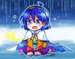 1girl ahoge bangs blue_eyes blue_hair cape cloak crying crying_with_eyes_open dress eyebrows_visible_through_hair long_sleeves multicolored multicolored_clothes multicolored_dress multicolored_hairband one-hour_drawing_challenge open_mouth patchwork_clothes pote_(ptkan) rain_print rainbow_gradient red_button sad short_hair sky_print tears tenkyuu_chimata touhou two-sided_cape two-sided_fabric white_cape white_cloak