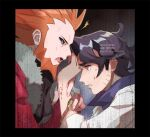 2boys ^^^ alternate_color augustine_sycamore beard black_border black_hair black_sclera blood border collared_shirt colored_sclera commentary_request curly_hair facial_hair fur-trimmed_jacket fur_trim green_eyes grey_eyes hand_up jacket kusuribe labcoat lysandre_(pokemon) male_focus multiple_boys open_mouth orange_hair parted_lips pokemon pokemon_(game) pokemon_masters_ex pokemon_xy red_jacket sharp_teeth shiny shiny_hair shirt signature spiky_hair sweat team_flare teeth tongue watch watch watermark wrist_grab
