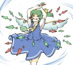 1girl arms_up ascot between_fingers blue_skirt blue_vest daiyousei danmaku fairy_wings green_eyes green_hair highres kunai looking_at_viewer mouth_hold peroponesosu. power-up puffy_short_sleeves puffy_sleeves shaded_face shirt short_sleeves side_ponytail simple_background skirt solo touhou vest weapon white_background white_shirt wings yellow_neckwear