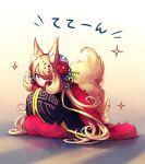 1girl akihorisu animal_ear_fluff animal_ears bangs blonde_hair closed_mouth cynthia_(pokemon) flower full_body green_ribbon hair_flower hair_ornament hair_over_one_eye hair_ribbon highres long_hair looking_at_viewer pokemon pokemon_(game) pokemon_dppt red_flower reflective_floor ribbon smile solo sparkle wide_sleeves yellow_eyes