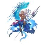 blue_eyes granblue_fantasy holding holding_trident holding_weapon jewelry long_hair male_swimwear muscular necklace official_art polearm poseidon_(granblue_fantasy) silver_hair simple_background swim_trunks tan transparent_background trident water weapon
