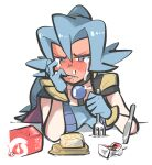 1girl bangs blue_bodysuit blue_gloves blue_hair blush bodysuit cape carton clair_(pokemon) collarbone commentary_request crying drinking_straw food fork gloves grey_eyes hair_between_eyes hair_tie half-closed_eyes highres holding holding_fork knife long_hair looking_down mouth_pull nose_bubble pokemon pokemon_(game) pokemon_hgss ponytail solo tears teeth tied_hair tirarizun