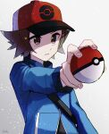 1boy baseball_cap black_shirt blue_jacket brown_eyes brown_hair commentary grey_background hat highres hilbert_(pokemon) holding holding_poke_ball jacket long_sleeves male_focus orange_headwear outstretched_arm parted_lips poke_ball poke_ball_(basic) poke_ball_print pokemon pokemon_(game) pokemon_bw shirt short_hair signature solo strap tere_asahi upper_body
