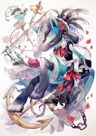 anchor chain clothed_pokemon coco7 commentary dagger flower furry jewelry knife manaphy mythical_pokemon petals pokemon pokemon_(creature) red_flower red_neckwear red_ribbon ribbon spikes spyglass toes waist_cape weapon white_neckwear wrist_cuffs