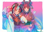 2girls amethyst_(gemstone) black_dress black_hair black_sailor_collar black_shirt blue_hair brown_eyes double_bun dress fate/grand_order fate_(series) gem hair_cones hair_up holding_another's_arm jacket juliet_sleeves long_sleeves looking_at_viewer multicolored_hair multiple_girls murasaki_shikibu_(fate) open_clothes open_jacket puff_and_slash_sleeves puffy_sleeves redhead sailor_collar sei_shounagon_(fate) shirt smile teeth tied_hair user_nyup5728 v violet_eyes white_jacket