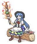 1girl bangs bell_pepper black_headwear blue_hair boots bow brown_footwear center_frills eating eggplant fire food food_in_mouth frills hair_between_eyes hat highres hinanawi_tenshi long_hair meat pepper peroponesosu. plate radish rainbow_order red_bow red_eyes red_neckwear short_sleeves simple_background solo sword_of_hisou touhou white_background