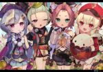4girls :3 :d :p ahoge animal_ears animal_hood arm_guards arm_up backpack bag bag_charm bangs bangs_pinned_back bead_necklace beads black_gloves black_scarf black_shorts bloomers blunt_bangs blurry boots brown_footwear brown_gloves brown_scarf cabbie_hat cape carrying cat_ears cat_girl charm_(object) chinese_clothes clover_print coat coin_hair_ornament commentary_request depth_of_field detached_sleeves diona_(genshin_impact) dodoco_(genshin_impact) eyebrows_visible_through_hair fake_animal_ears field finger_to_mouth fingerless_gloves flower flower_field forehead genshin_impact gloves green_eyes hair_between_eyes hat hat_feather hat_ornament highres hood index_finger_raised japanese_clothes jewelry jiangshi jumpy_dumpty klee_(genshin_impact) knee_boots kneehighs leaf leaf_on_head light_brown_hair long_hair long_sleeves looking_at_viewer low_twintails multiple_girls navel necklace ninja obi ofuda one_eye_closed open_mouth parted_lips paw_pose petals pink_hair pocket pointy_ears pouch puffy_detached_sleeves puffy_shorts puffy_sleeves purple_hair qing_guanmao qiqi_(genshin_impact) raccoon_ears randoseru red_coat red_eyes red_headwear sash sayu_(genshin_impact) scarf short_hair shorts shuriken sidelocks silver_hair smile standing standing_on_one_leg tamago_tyoko_(ijen0703) thick_eyebrows thigh-highs tongue tongue_out twintails underwear violet_eyes vision_(genshin_impact) weapon white_gloves white_legwear wind zettai_ryouiki