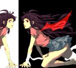 1girl :o ass bandaged_arm bandages bangs black_background black_hair breasts danganronpa_(series) danganronpa_2:_goodbye_despair dosugon dual_persona from_side long_hair looking_at_viewer mole mole_under_eye open_mouth pink_shirt pleated_skirt puffy_short_sleeves puffy_sleeves red_eyes shirt shirt_tucked_in short_sleeves skirt socks tears tsumiki_mikan white_background