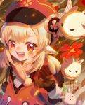 1girl :d ahoge backpack bag bag_charm bangs blurry brown_gloves brown_scarf cabbie_hat charm_(object) clover_print coat commentary depth_of_field dodoco_(genshin_impact) eyebrows_visible_through_hair genshin_impact gloves hair_between_eyes hat hat_feather hat_ornament highres jumpy_dumpty klee_(genshin_impact) light_brown_hair long_hair long_sleeves looking_at_viewer low_twintails open_mouth orange_eyes pocket pointy_ears randoseru red_coat red_headwear scarf sidelocks signature smile solo teikuyo twintails