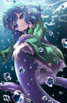 1girl bangs blue_eyes blue_hair blurry bubble closed_mouth depth_of_field drill_locks eyebrows_visible_through_hair frilled_kimono frills full_body head_fins highres japanese_clothes kayon_(touzoku) kimono long_sleeves looking_at_viewer mermaid monster_girl short_hair solo touhou underwear wakasagihime