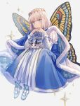 1boy bangs blue_cape blue_eyes blush bug butterfly_wings cape closed_eyes diamond_hairband fairy fate/grand_order fate_(series) fur-trimmed_cape fur_trim highres looking_at_viewer male_focus medium_hair moth oberon_(fate) shichimi_(ftlvampire32) silver_hair smile solo white_background wings