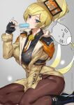 1girl ashiomi_masato bangs blush breasts fur_hat guilty_gear guilty_gear_strive hat highres large_breasts long_hair long_sleeves looking_at_viewer millia_rage thighs ushanka