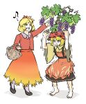 aki_minoriko aki_shizuha apron barefoot basket black_skirt blonde_hair clenched_teeth food food-themed_hair_ornament fruit grape_hair_ornament grapes hair_ornament highres leaf_hair_ornament long_sleeves musical_note open_mouth peroponesosu. red_shirt shirt shoes short_hair siblings simple_background sisters skirt spoken_musical_note steam_from_mouth sweatdrop teeth touhou trembling white_background wide_sleeves yellow_eyes yellow_shirt