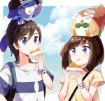 1boy 1girl :o bangs baseball_cap blue_eyes border bracelet brown_hair bubble closed_mouth clouds collarbone commentary_request eating elio_(pokemon) eyebrows_visible_through_hair eyelashes food food_on_face hand_up hat hatted_pokemon highres holding jewelry malasada on_head open_mouth outside_border pokemon pokemon_(creature) pokemon_(game) pokemon_on_head pokemon_sm popplio rowlet selene_(pokemon) shirt short_sleeves sky sleeping striped striped_shirt t-shirt tere_asahi tongue white_border yellow_shirt z-ring