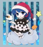 bangs black_bow black_dress black_sleeves blue_background blue_eyes blue_hair blush book boots bow chibi clouds doremy_sweet dress eyebrows_visible_through_hair gradient gradient_background grey_background hand_up hat looking_at_viewer open_mouth pom_pom_(clothes) ponytail red_headwear rei_(tonbo0430) short_hair short_sleeves sitting sitting_on_cloud smile star_(symbol) starry_background striped striped_background tail touhou white_dress white_footwear