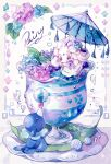 alcremie balancing_ball ball bow closed_eyes coco7 commentary cup flower framed in_container in_cup leaf liquid looking_down no_humans petals pokemon pokemon_(creature) popplio purple_bow saucer umbrella