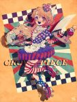 1girl adapted_costume alternate_costume american_flag american_flag_legwear apron blonde_hair blue_eyes burger character_name clownpiece crescent crescent_hair_ornament eyebrows_visible_through_hair food hair_between_eyes hair_ornament hat heterochromia highres ice_cream long_hair mini_hat neck_ruff open_mouth puffy_short_sleeves puffy_sleeves red_eyes roller_skates short_sleeves skates sokura_(mochichitose) solo touhou tray upper_teeth waitress yellow_background