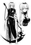 1girl angry_num bangs belt blunt_bangs breasts buttons chain double-breasted dress full_body greyscale high_heels highres holding holding_scythe hololive hololive_english jitome long_hair looking_at_viewer monochrome mori_calliope multiple_views nail_polish scythe shoes side_slit simple_background single_thighhigh sleeveless sleeveless_dress slit_pupils solo thigh-highs tiara upper_body veil very_long_hair virtual_youtuber white_background