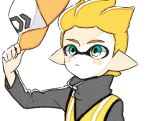 1boy animated animated_gif blonde_hair comamawa green_eyes grey_jacket hat inkling jacket long_sleeves looking_at_object looking_at_viewer one_eye_covered pointy_ears short_hair simple_background source_request splatoon_(series) splatoon_2 upper_body white_background yellow_headwear yellow_jacket