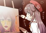 1girl =3 animal_ears beret bone_hair_ornament bow bowtie brown_eyes brown_hair closed_mouth dog_ears easel from_side frown hair_ornament hand_up hat highres holding holding_paintbrush holding_palette hololive inugami_korone itou_yuuji long_sleeves official_alternate_costume paintbrush painting palette_(object) profile red_headwear shirt sideways_mouth solo white_shirt