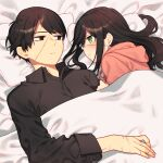 2girls alternate_costume bed black_eyes black_hair black_shirt blanket blush casual collared_shirt empty_eyes expressionless eyepatch green_eyes hair_down highres hood hood_down hoodie library_of_ruina long_hair looking_at_another michael_1987 multiple_girls partially_unbuttoned pillow pink_hoodie scar scar_on_cheek scar_on_face scar_on_hand scar_on_nose shared_blanket shirt short_hair sidelocks smile tenma_(library_of_ruina) under_covers yujin_(library_of_ruina) yuri