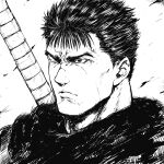 1boy berserk closed_mouth commentary dragonslayer_(sword) frown greyscale guts_(berserk) male_focus monochrome one_eye_closed portrait scar scar_on_face scar_on_nose short_hair shu-mai simple_background solo upper_body weapon weapon_on_back white_background