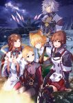 2girls 3boys :d absurdres animal_ears blonde_hair breasts brown_hair campfire cat_boy cat_ears fan_la_norne grin highres jin_(xenoblade) lora_(xenoblade) mikhail_(xenoblade) milton_(xenoblade) miniskirt multiple_boys multiple_girls night open_mouth outdoors red_skirt risumi_(taka-fallcherryblossom) silver_hair skirt sky small_breasts smile star_(sky) starry_sky xenoblade_chronicles_(series) xenoblade_chronicles_2 xenoblade_chronicles_2:_torna_-_the_golden_country yellow_eyes