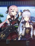 2girls 3d_background :d ^_^ adjusting_hair arm_guards armor armored_dress bangs blunt_bangs blurry bow breastplate choker closed_eyes collarbone depth_of_field detached_collar detached_sleeves eyebrows_visible_through_hair genshin_impact grey_eyes hair_between_eyes hair_bow hair_ornament hair_ribbon hair_tubes hairclip highres japanese_clothes kamisato_ayaka katana long_hair looking_at_another multiple_girls open_mouth original pink_hair pleated_skirt ponytail ribbon short_sleeves sidelocks silver_hair skirt smile soni8281 sword tress_ribbon vision_(genshin_impact) weapon
