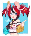 1girl animal_ear_fluff animal_ears bare_shoulders black_gloves blue_background blue_eyes blush border clothes_writing cropped_shirt detached_sleeves gloves hair_between_eyes hakos_baelz highres hololive long_sleeves looking_at_viewer mouse mouse_ears mouse_on_head mousetrap multicolored_hair off-shoulder_shirt off_shoulder open_mouth print_shirt redhead sharp_teeth shirt single_glove solo streaked_hair teeth twintails twitter_username upper_body white_border white_shirt yoako