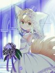 1girl animal_ears arknights black_collar blonde_hair blue_hairband blush bouquet bridal_veil collar commission dress eyebrows_visible_through_hair flower fox_ears fox_girl fox_tail from_side green_eyes hairband highres holding holding_bouquet indoors infection_monitor_(arknights) kitsune kyuubi looking_at_viewer mikoko1 multicolored_hair multiple_tails off-shoulder_dress off_shoulder purple_flower skeb_commission smile solo streaked_hair suzuran_(arknights) tail veil wedding_dress white_hair