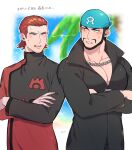 2boys age_(moco018) anger_vein archie_(pokemon) beard black_eyes black_hair black_shirt blue_bandana chain_necklace clenched_teeth coat commentary_request crossed_arms facial_hair highres logo long_sleeves male_focus maxie_(pokemon) multiple_boys mustache open_mouth outline pokemon pokemon_(game) pokemon_rse popped_collar red_coat shirt short_hair sweatdrop team_aqua team_magma teeth tongue turtleneck
