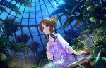 blush brown_eyes brown_hair dress idolmaster_cinderella_girls_starlight_stage long_hair smile takamori_aiko