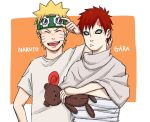 2boys :d blonde_hair blue_eyes border character_name closed_eyes closed_mouth crossed_arms facial_mark gaara_(naruto) goggles goggles_on_head holding looking_at_viewer multiple_boys naruto naruto_(series) no_eyebrows open_mouth orange_background pinoko_(pnk623) red_eyes redhead shirt short_hair simple_background smile stuffed_animal stuffed_toy teddy_bear teeth uzumaki_naruto white_shirt